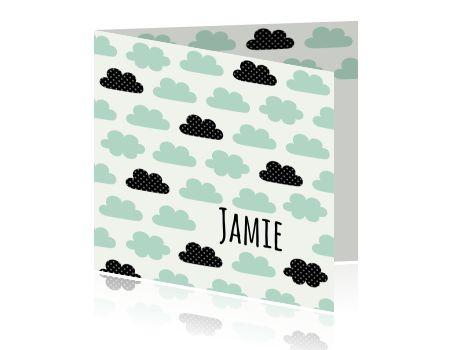 Lief kaartje voor een jongen met mint groene wolkjes
