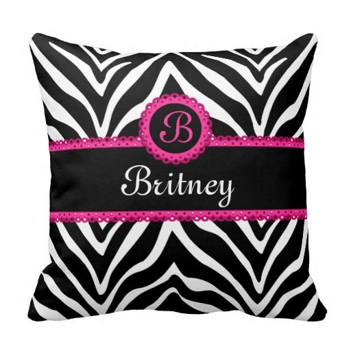 Hip Zebra Print and Lace Monogram Pillows