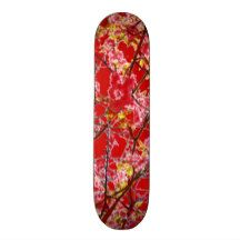 Colorful pink red abstract floral design skateboard