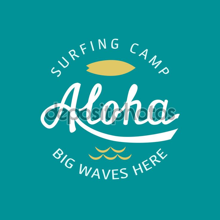 Алоха стороны надпись. Векторная иллюстрация типографии каллиграфии. Гавайские ручной тропических футболку графика. Ретро обои море волны и доски для серфинга — стоковая иллюстрация #101155254