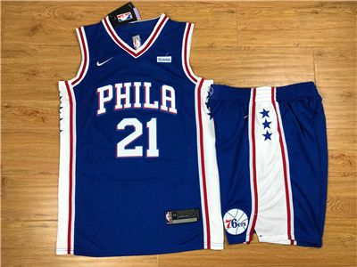 Nike 76ers  21 Joel Embiid Blue Swingman Jersey(With Shorts)  d5a0dd2c0