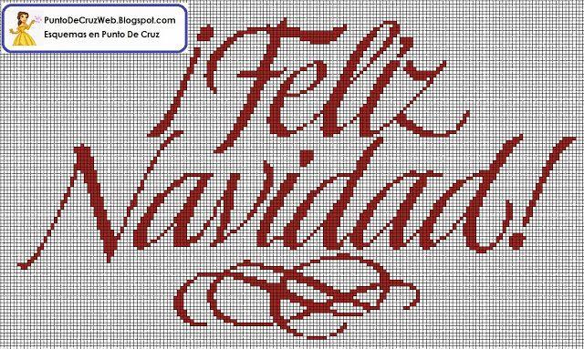 Letras Feliz Navidad en Punto De Cruz