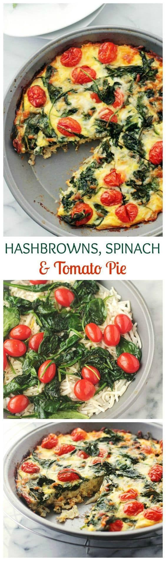 Hashbrowns, Spinach and Tomato Pie is the perfect addition to your Brunch Menu! via @diethood