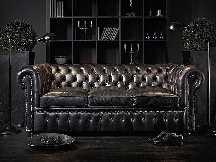 Black Chesterfield sofa.