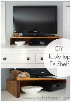 How to make a TV shelf for on top of your dresser or console! Very easy!