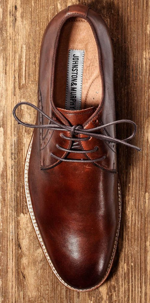 As versatile as versatile gets, with a comfortable rubber sole rendered to look like a refined leather sole.  Rubber-sole Oxford ($155) by Johnston & Murphy, johnstonmurphy.com