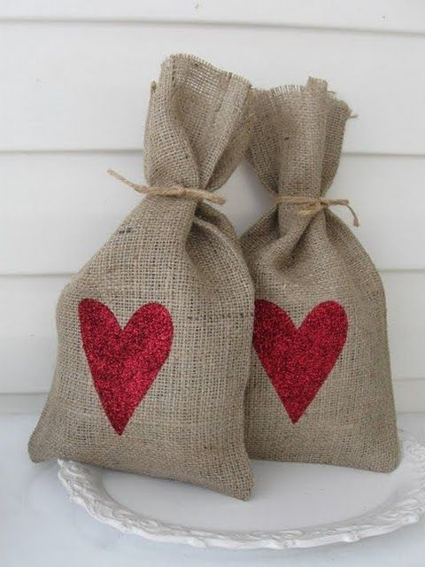 Valentine's burlap and glitter heart bags