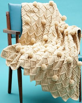 Lattice Pom Pom Crochet Blanket. Free pattern from Bernat.