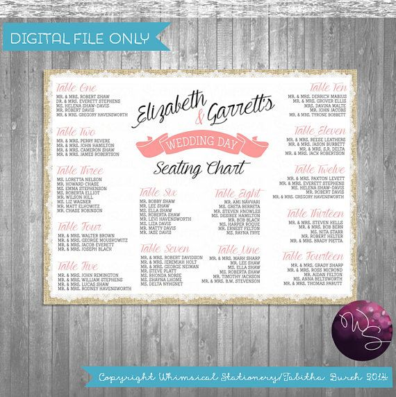 Burlap & Lace Printable Seating Chart Wedding (PRINTABLE FILE ONLY) Large Size Find Your Seat Custom Seating Do It Yourself Digital