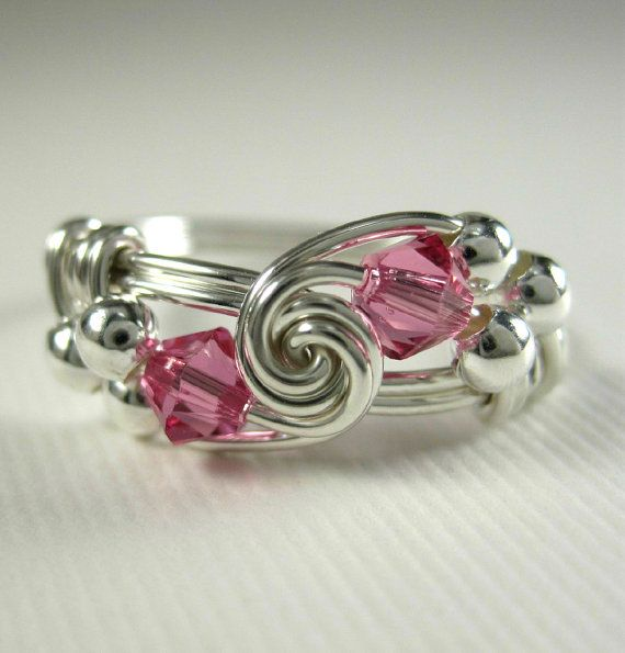 Pink Ring Wire Wrapped Rose Zircon and Sterling by holmescraft