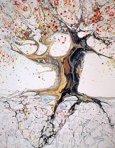 Watercolor marbling by Dedree Drees