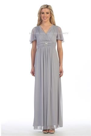 Long Modest Silver Maternity Dress.