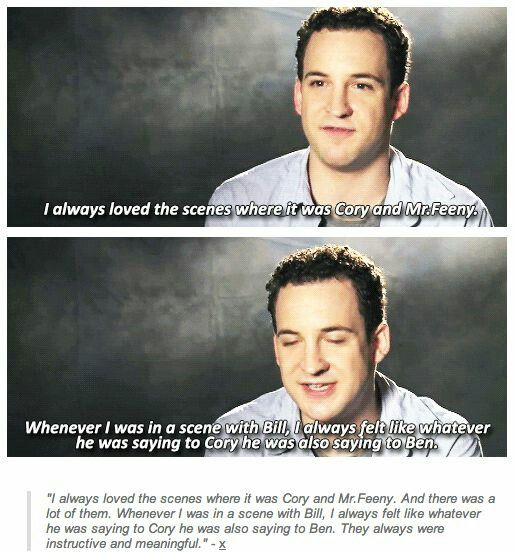 Ben Savage talking about his favorite scenes. #Feeny #Cory #BMW
