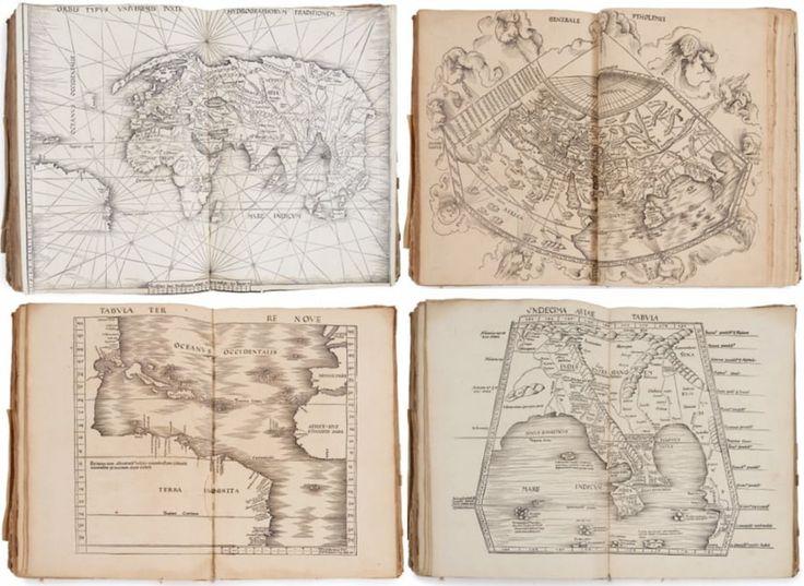 """Два атласы связаны вместе , как один, опубликованный на пергаменте в 1513 году Иоганном Шотт в Страсбурге. Первый из связанных атласов является издание атласа Птолемея от античности , содержащей 27 карт, другой 20 современных картах период с картографом Вальдземюллер. Этот атлас был описан средневековый авторитет Пастуро как """"событие в истории картографии."""" Он был продан за $ 189,000 (€ 169756) по  Artcurial  31 мая 2016 года (Credit: Artcurial )"""