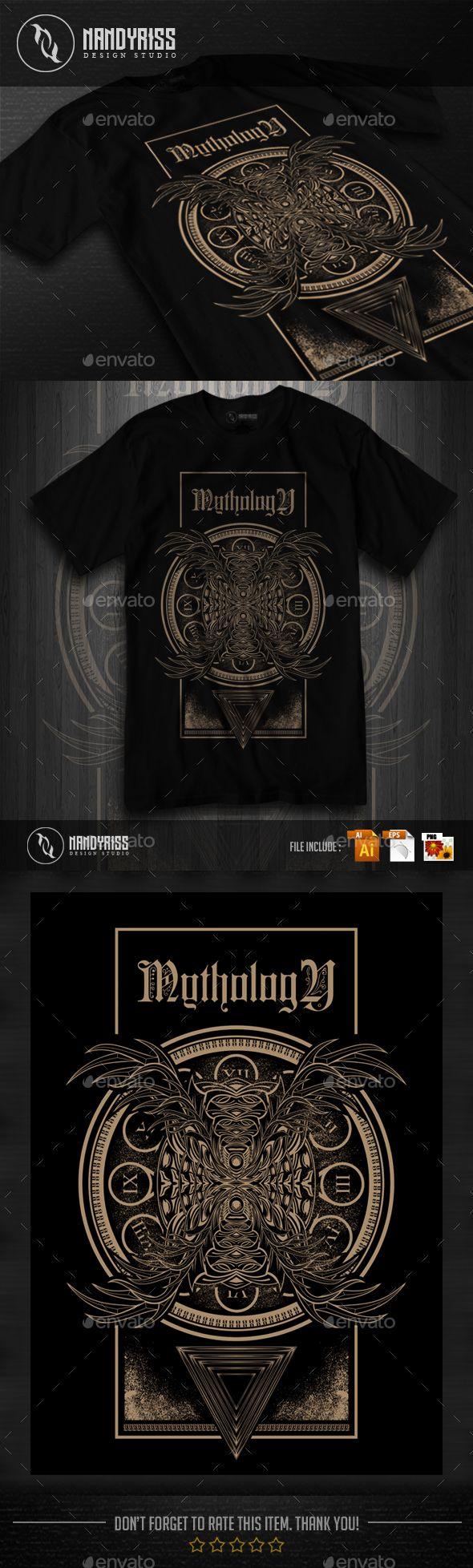 MYTHOLOGY TShirt Design — Vector EPS #sign #dark • Available here → https://graphicriver.net/item/mythology-tshirt-design/17277269?ref=pxcr