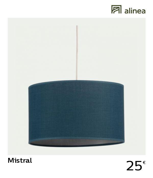 Alinea Mistral Abat Jour Suspension Cylindrique En Tissu Bleu