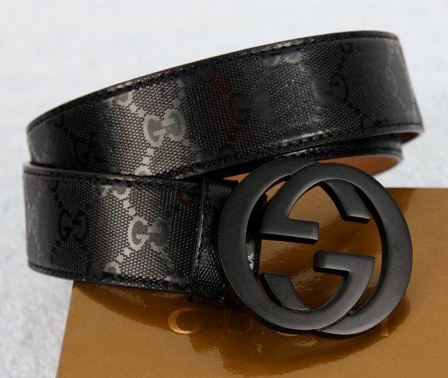 Ремень Gucci кожаный черный с черной пряжкой, новая модель #18587