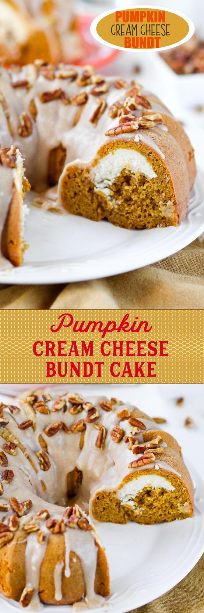 Pumpkin Cream Cheese Bundt -- Moist pumpkin bundt cake with a hidden cheesecake layer! Such a fun surprise to cut into.