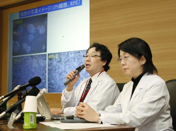 Masayo Takahashi (right), project leader at Riken's Laboratory for Retinal Regeneration, speaks alongside Yasuo Kurimoto, who heads the department of ophthalmology at Kobe City Medical Center General Hospital, during a news conference in Kobe on Tuesday. | KYODO