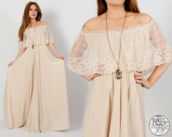 Beige Wedding Dresses: Vintage 70s LACE Cream Off Shoulder Maxi Dress XS S
