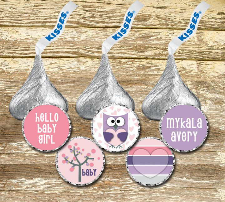 A personal favorite from my Etsy shop https://www.etsy.com/ca/listing/270187197/hershey-kiss-stickers-baby-shower-girl