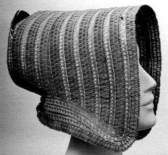 Straw bonnet, Swedish, 1840's. Örebro Läns Museum, nr. OLM-2625-A-C