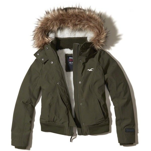 Hollister All-Weather Bomber Jacket (430 ILS) ❤ liked on Polyvore featuring outerwear, jackets, olive, faux-leather jackets, green military jackets, olive green jackets, army green jacket and hooded bomber jacket