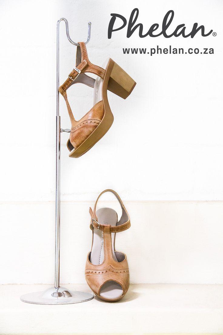 Peep toe block heel Oxford style available at Phelan Footwear online
