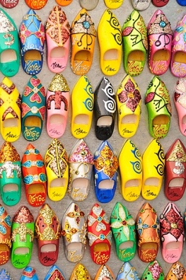 Typical Moroccan slippers as fridge magnets