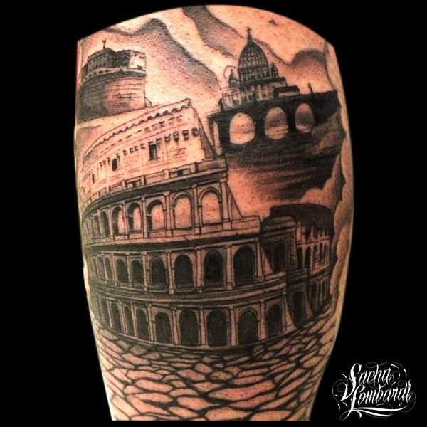 Simple-Black-Ink-Colosseum-Tattoo-Design-For-Sleeve.jpg (600×600)