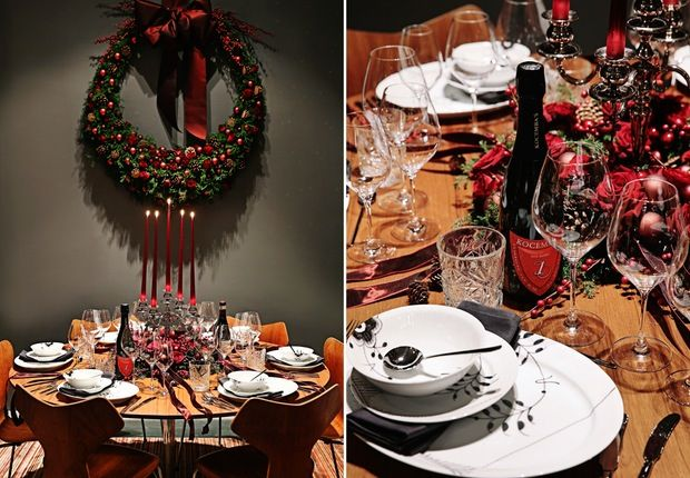 Royal Copenhagen Christmas Tables 2014 featuring the Kay Bojesen Grand Prix cutlery.. Danish design.