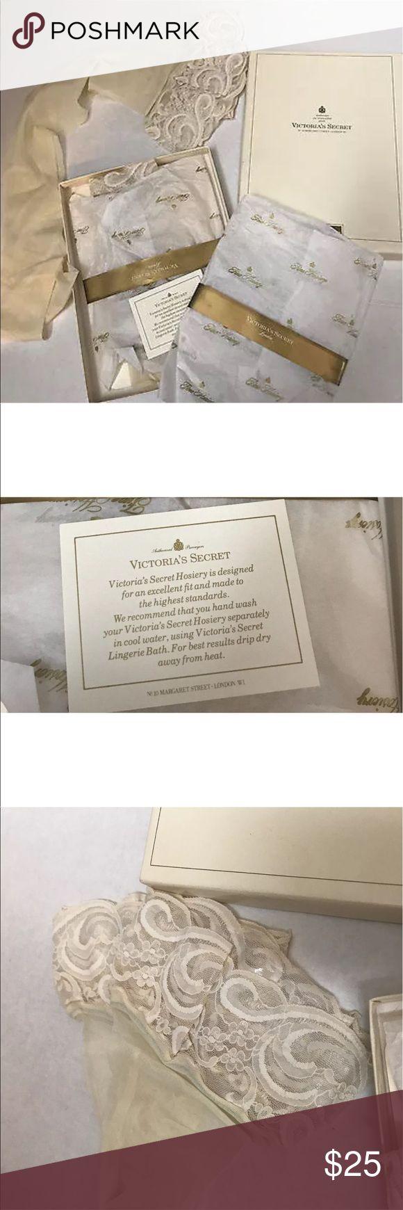 New old stock Victoria's Secret stockings in box Vintage New old stock box of Victoria's secret thigh highs 2 pairs Cream Size Medium Victoria's Secret Intimates & Sleepwear Shapewear