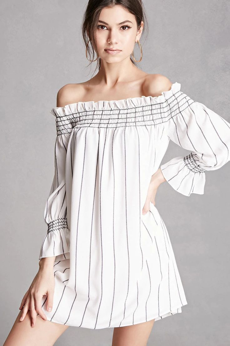 A crinkled woven off-the-shoulder dress featuring a striped pattern, smocked neckline, 3/4 sleeves with smocked cuffs, and a swing silhouette. This is an independent brand and not a Forever 21 branded item.