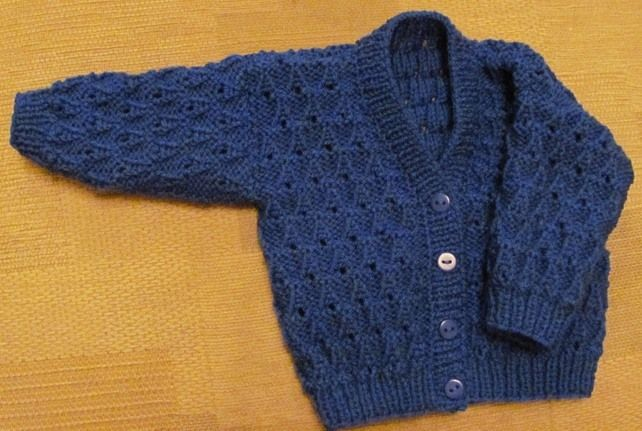 """Royal Blue Cardigan for Newborn Baby (0-2 months) 16"""" chest £6.25"""