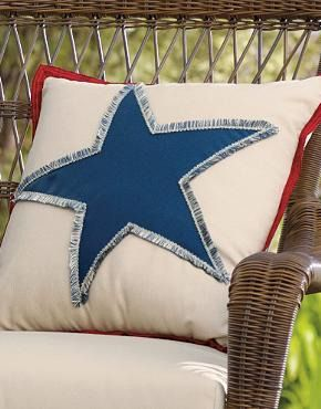 Bring the spirit of the 4th of July to your outdoor space this summer with the fun Americana Star Fringed Outdoor Pillow; an ideal summer accessory!