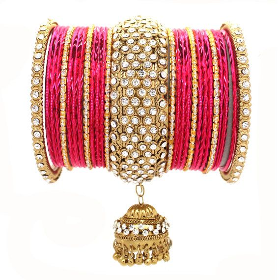 Set of Gold Hot Pink Silver Premium Indian Diamante by Glimour