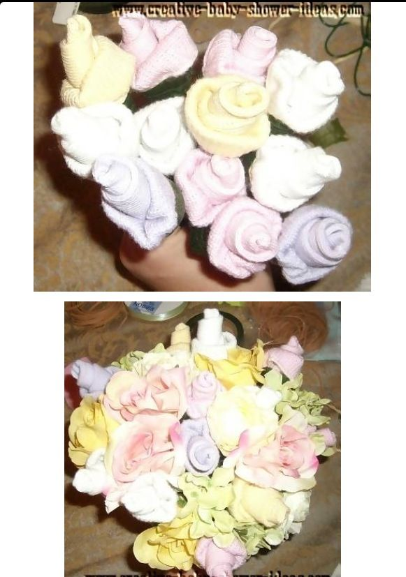 Baby sock bouquet Baby Shower corsages