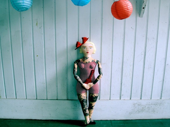 //: Tattoo Ukulele, Tattoo Dolls, Kirchner Dolls, Stitches Crafts, Ukulele Lady, Mimi Kirschner, Mimi Kirchner, Dolls Faces, Art Dolls