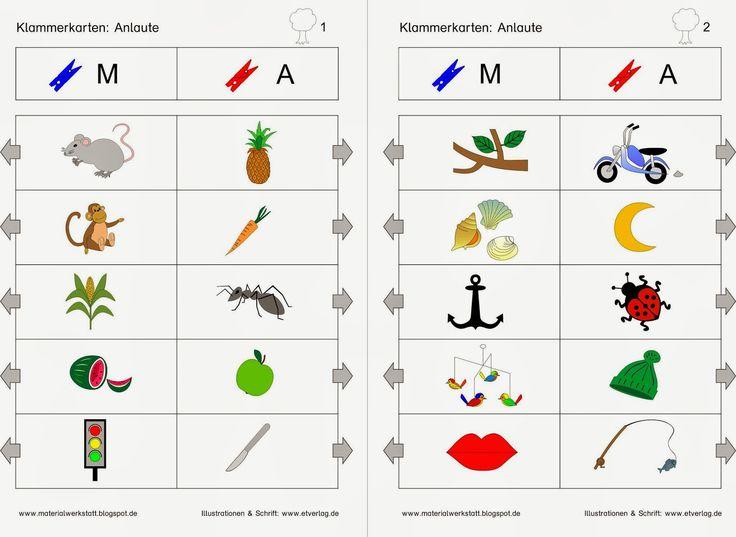 Bei diesen zwölf Klammerkarten soll zu den Bildern der Anlaut bestimmt werden. Es gibt Aufgaben zu folgenden Buchstaben: A, E, I, O, U, M, S...