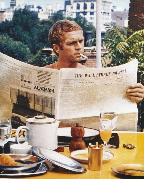 Steve reading the Wall Street Journal? How perfect does this guy want to be