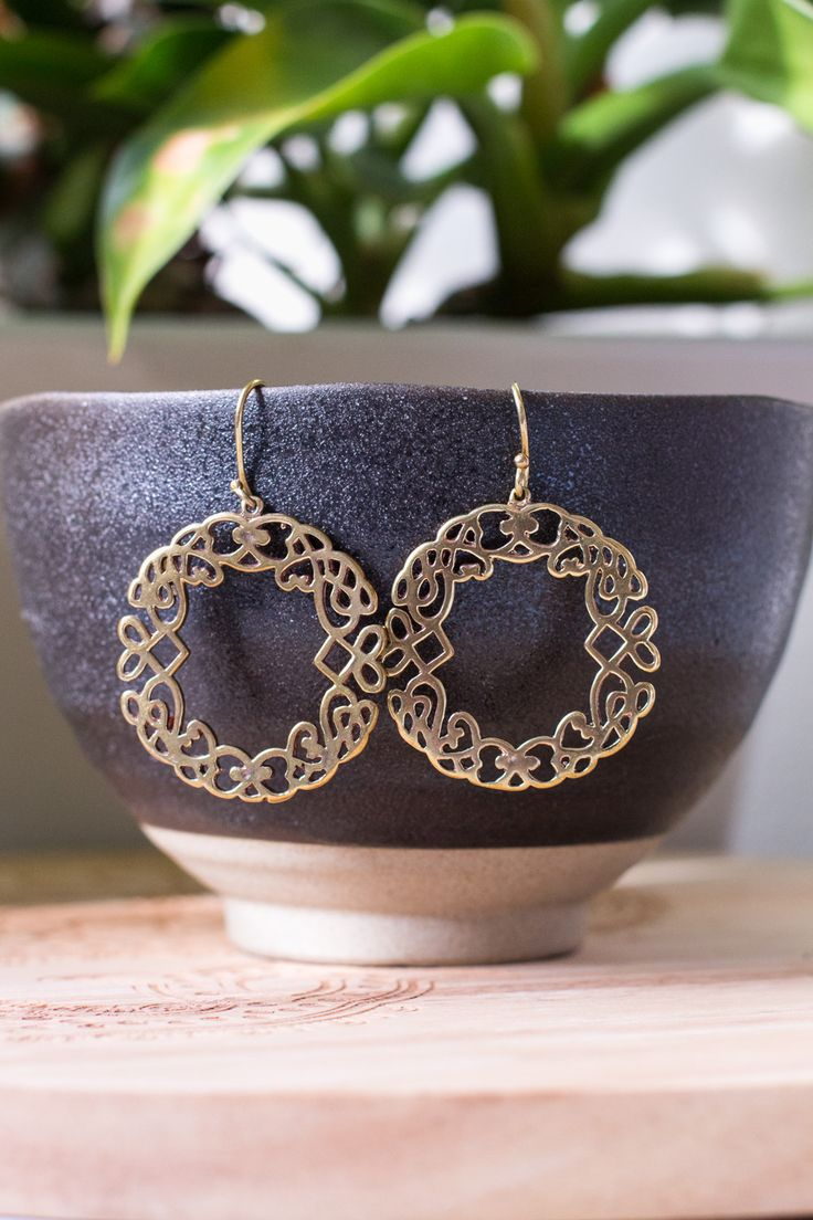 Stunning Brass Earrings from India. On-line Tribal & Ethnic Jewellery.   HindiIndie.com