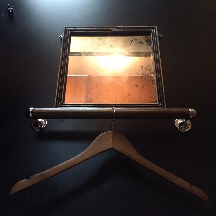 Vintage mirror & wood rail. The prefect harmony between wood and chrome. Old and New at Tempo Pilates E8 | Hackney. #tempopilates #netilhouse #hackney #reformerpilates #pilates #london #londonfields #vintage #decor #interior #interiordesign #designinspiration #designideas #pinterest