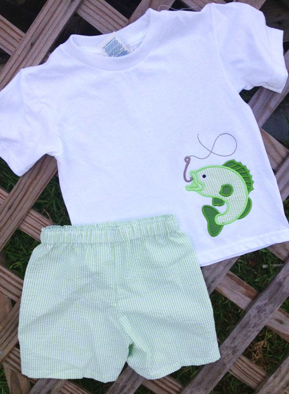 Boys Green Seersucker Bass fish outfit by GetStitchedByAnna, $30.00