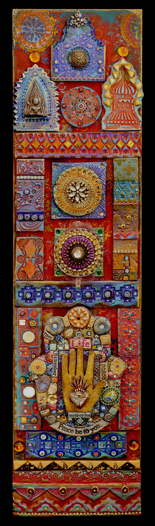 """Laurie Mika-""""Peace Be To You"""", a mixed media mosaic"""