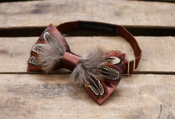 Feather Bow tie Feathers Funky bowtie Men's funky gift by TheTBB