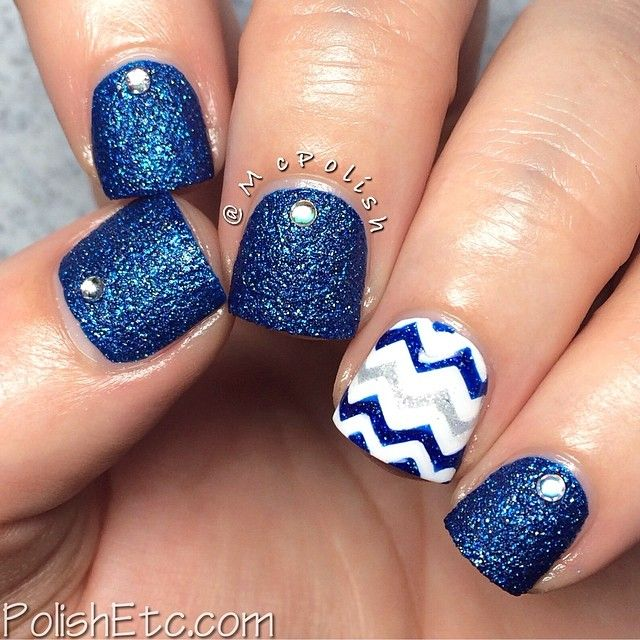 Blue, White and Sliver Glitter with Chevron and Jewel Nail Art Design