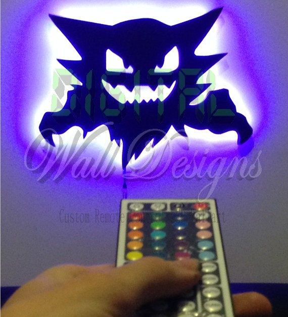 Hey Pokefans! Check out our remote Control activated Haunter Nightlight! On\off feature, Change to 1 of 20 colour shades and multiple flash