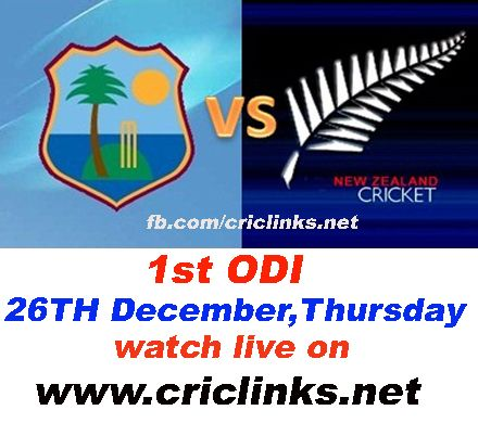 26th December 1st odi between New zealand vs WI will be played at Auckland.After wining Test seris NZ will have a great challange in odi becoz WI is a good odi team .its will be exciting,,,match will be start 6.00 AM PST.6.30 IST Watch live action only on http://www.criclinks.net/
