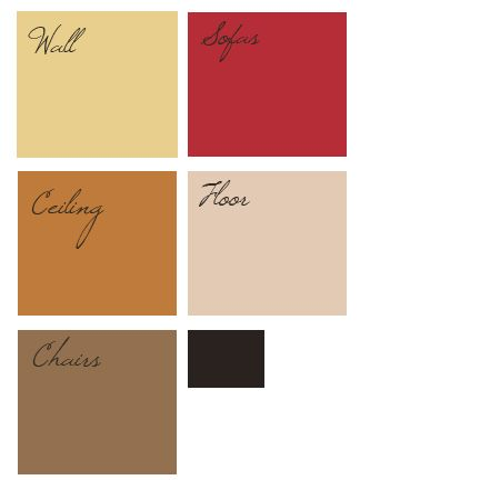 Red, Gold, Brown color palette for living room. I painted a living, dining kitchen apartment area in a similar red, gold, chocolate,  green scheme and loved living in it.  Lots of positive comments from friends.