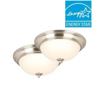 Commercial Electric 13 in. Brushed Nickel LED Twin Pack Flushmount JAL8011L/BN at The Home Depot - Mobile